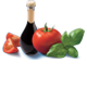 Tomaten Basilikum und Aceto Balsamico di Modena IGP