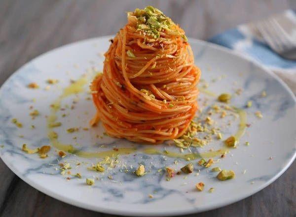 Angel Hair Pasta Recipe with Fresh Tomato Passata Sauce & Roasted Pistachios