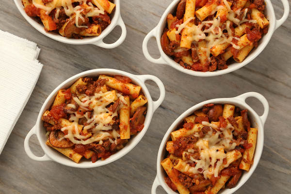 Baked Ziti with Mushrooms, Caramelized Onions, and Chorizo Recipe