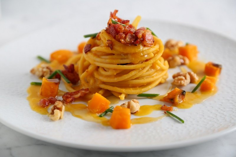 Bucatini Pasta with Butternut Squash, Crispy Bacon, Toasted Walnuts and Maple Syrup