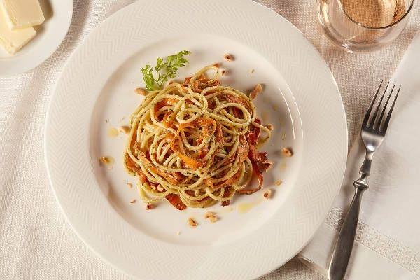 Bucatini Pasta with Hazelnut and Carrot Top Pesto Recipe