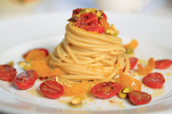 Bucatini with Bottarga, Pistachio & Blistered Tomatoes Recipe