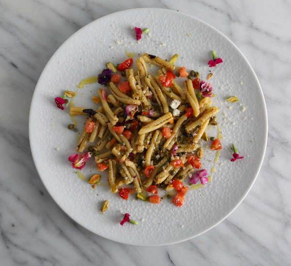 Casarecce Pesto Pasta Salad Recipe with Heirloom Tomatoes, and Edible Flowers