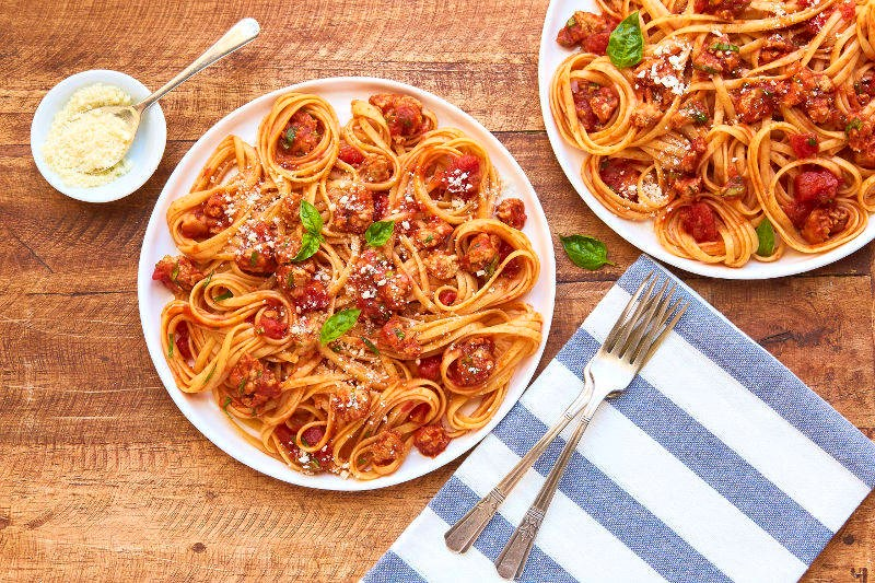 Chef'd recipe Linguine Turkey Sausage and Tomato Sauce