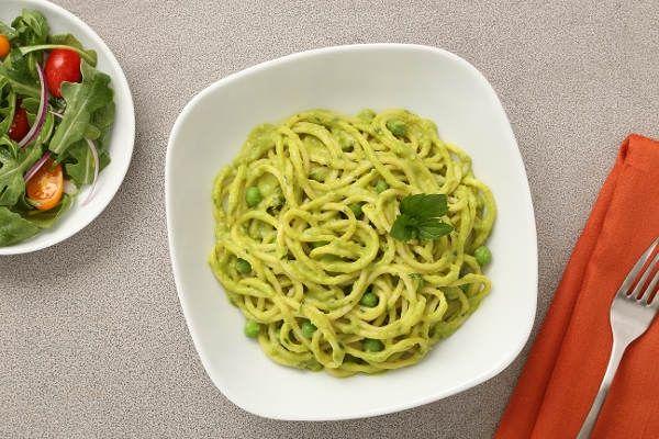 Indian Spaghetti Recipe with Leek & Curried Pea Sauce