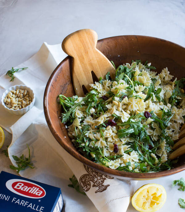 Farfalle Pasta Salad Recipe with Lemon, Arugula, Cranberries, Feta Cheese and Pine Nuts