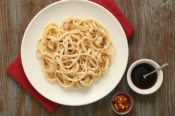 Linguine Pasta Recipe with Pan-Toasted Cauliflower, Tahini, and Pomegranate Syrup