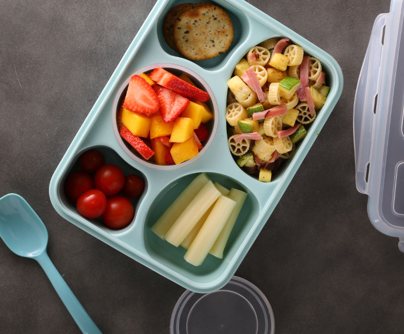 Lunchbox Pasta Salad Recipe with Zucchini, Yellow Squash and Ham