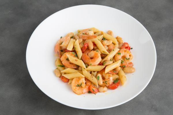 Mostaccioli with Shrimp and Cannellini Beans