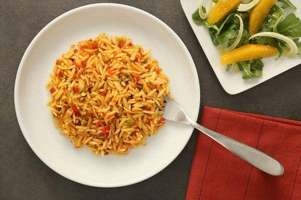 Saffron Orzo Pasta Recipe with Goji Berry & Pistachio Pesto