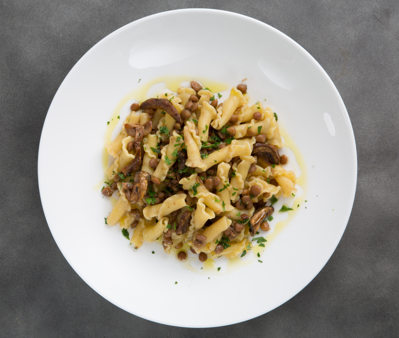Campanelle with Lentils and Porcini Mushrooms