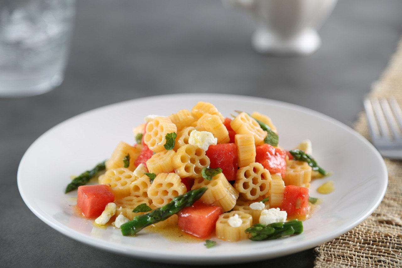 Pasta Salad with Watermelon, Asparagus and Feta Cheese Recipe