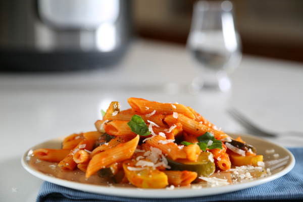 Penne Instant Pot Recipe with Summer Vegetables & Tomato Basil Sauce