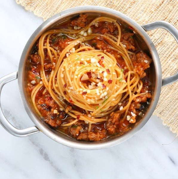 Spaghetti with Spicy Italian Sausage Ragout