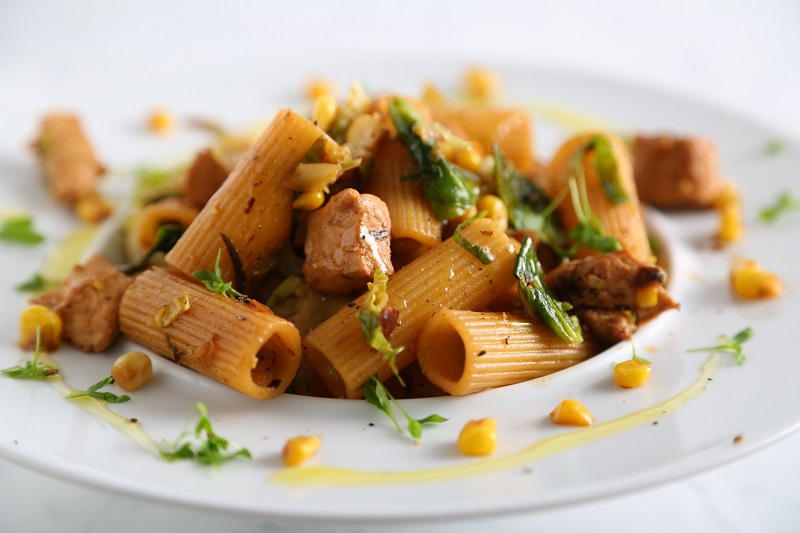Rigatoni Pasta Recipe with Plant-based Chicken, Corn, Shallots and Brussels Sprouts