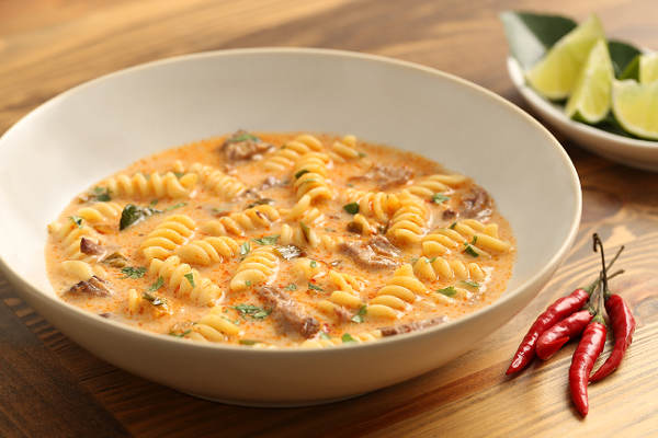 Spicy Curried Coconut Beef Rotini Pasta Recipe