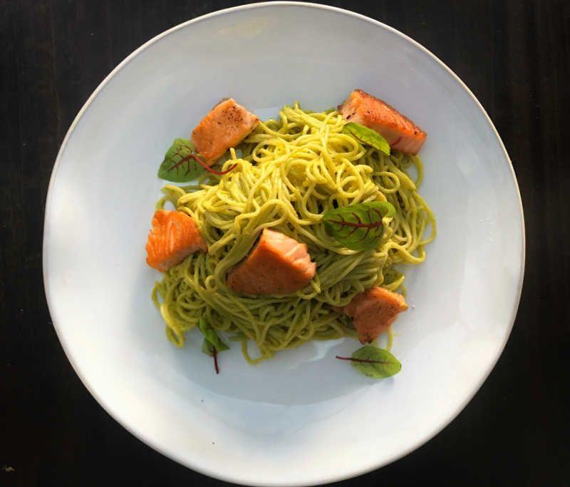 Roasted Salmon Spaghetti in Creamy Poblano Sauce