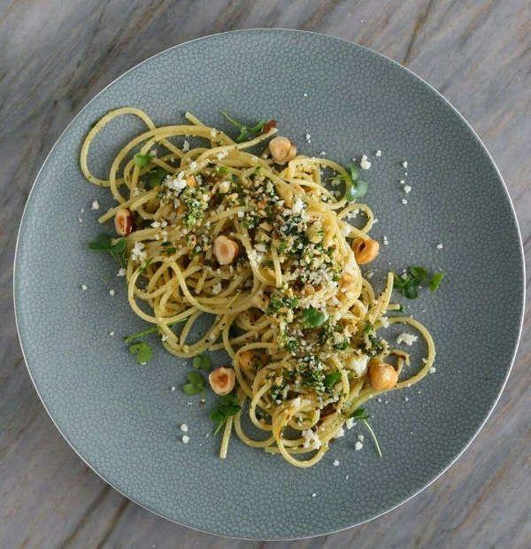 Spaghetti Recipe with Homemade Micro-Kale-Roasted-Shallot-Hazelnut Pesto