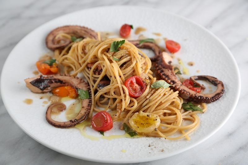 """""""Risotto-Style"""" Spaghetti Recipe with Octopus, Seared Cherry Tomatoes and Fresh Aromatic Herbs"""