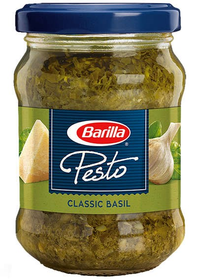 Classic Basil pesto front of jar