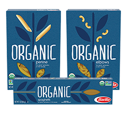 Barilla Organic pasta product packages