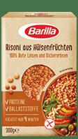 Huelsenfruechte Risoni aus roten Linsen und Kichererbsen Verpackung Barilla