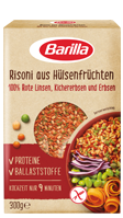 Huelsenfruechte Risoni aus roten Linsen Kichererbsen und Erbsen Verpackung Barilla