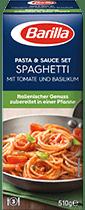 Pasta und Sauce Set fur Spaghetti mit Tomate und Basilikum