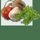 Ausgewähltes Fleisch aus einer kontrollierten Lieferkette, Steinpilze und Champignons, italienische Tomaten