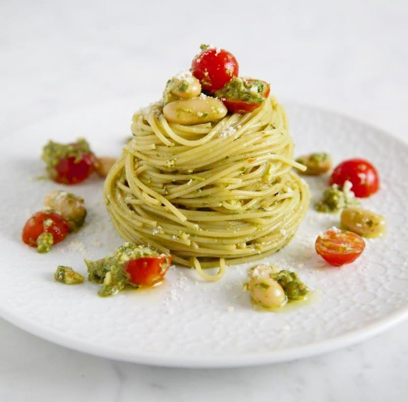 Angel Hair Pasta Recipe with Baby Kale & Walnut Pesto
