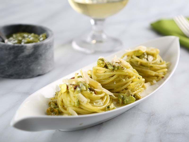 Spaghetti with Basil and Pistachio Pesto
