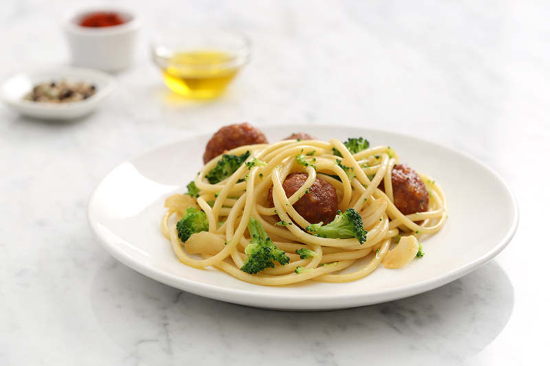 Smoky Broccoli Bucatini Pasta with Turkey Meatballs