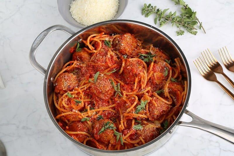 Bucatini Pasta Recipe with Eggplant Meatballs
