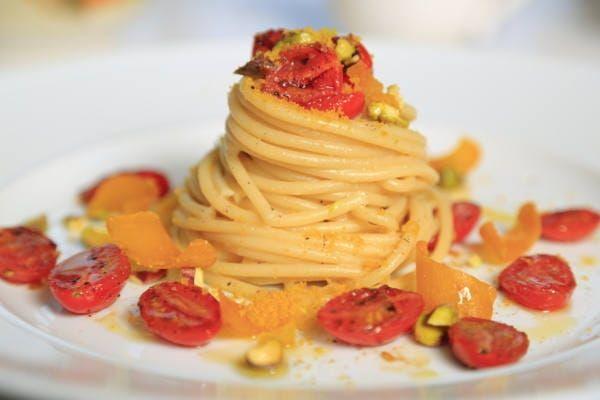 Bucatini with Bottarga, Pistachio & Blistered Tomatoes Recipe