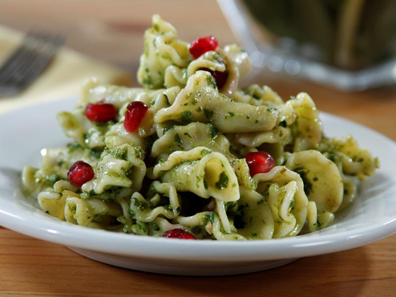 Campanelle with Kale & Walnut Pesto & Fresh Pomegranate