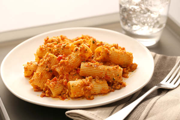 Rigatoni Pasta with Cauliflower and Almond Pesto Recipe