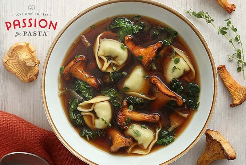 Cheese and Spinach Tortellini in Wild Chanterelle Broth