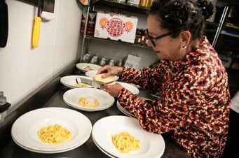 Chef Nancy Silverton's Barilla Collezione Spaghetti with Soft Scramble Eggs, Parmigiana and White Truffle