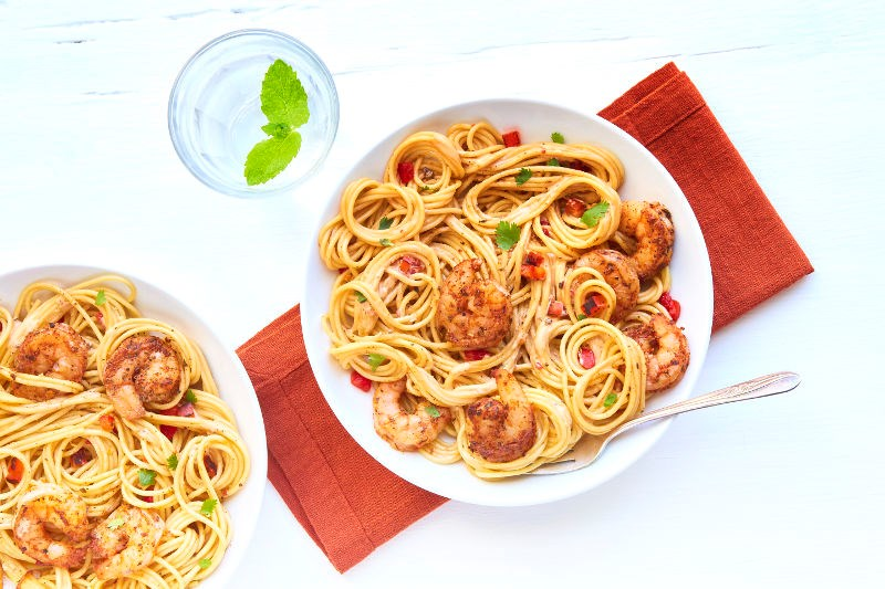 Chef'd Spaghetti with creamy cajun shrimp recipe