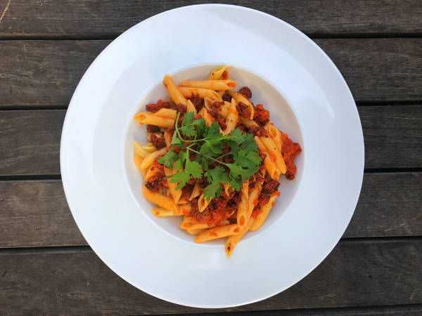 Chorizo Puttanesca Penne Pasta