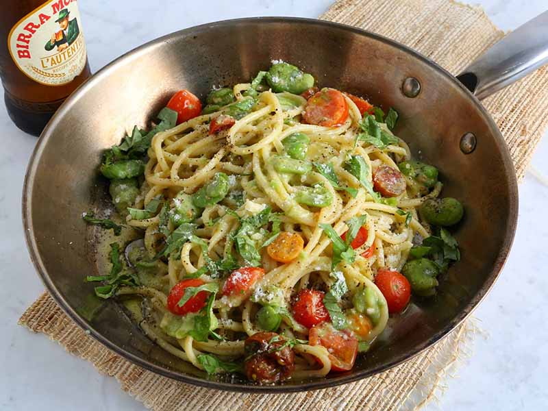 Bucatini Pasta Recipe with Fava Beans