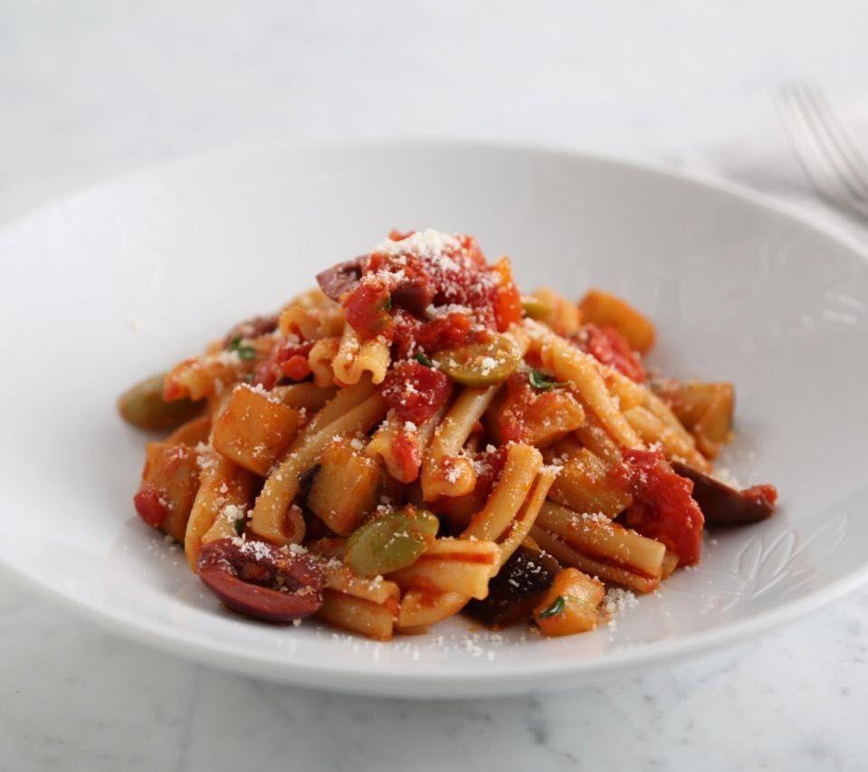 Casarecce Pasta Recipe with Fried Eggplant