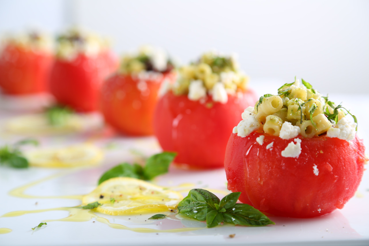 Cold Ditalini Stuffed Tomatoes with Olives and Avocado