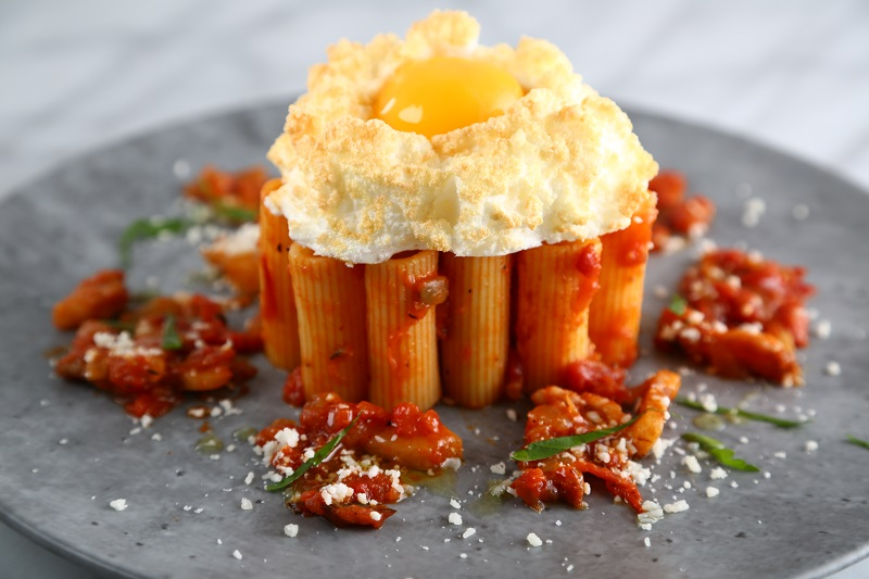 Rigatoni Recipe with a Fluffy Egg Cloud