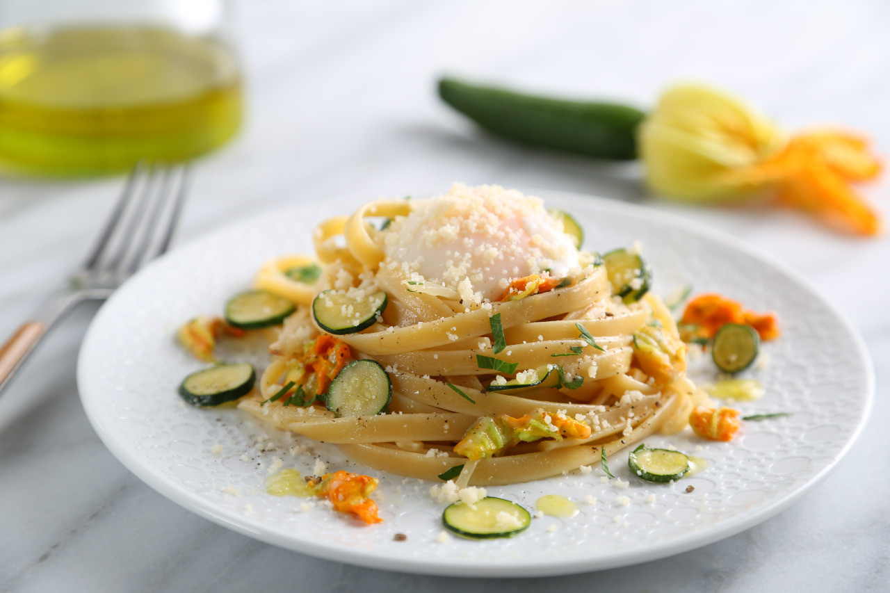 Fettuccine with Zucchini Flowers, Poached Egg and Parmigiano Reggiano