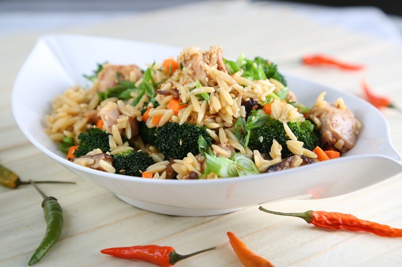 Orzo Fried Rice Recipe with Chicken