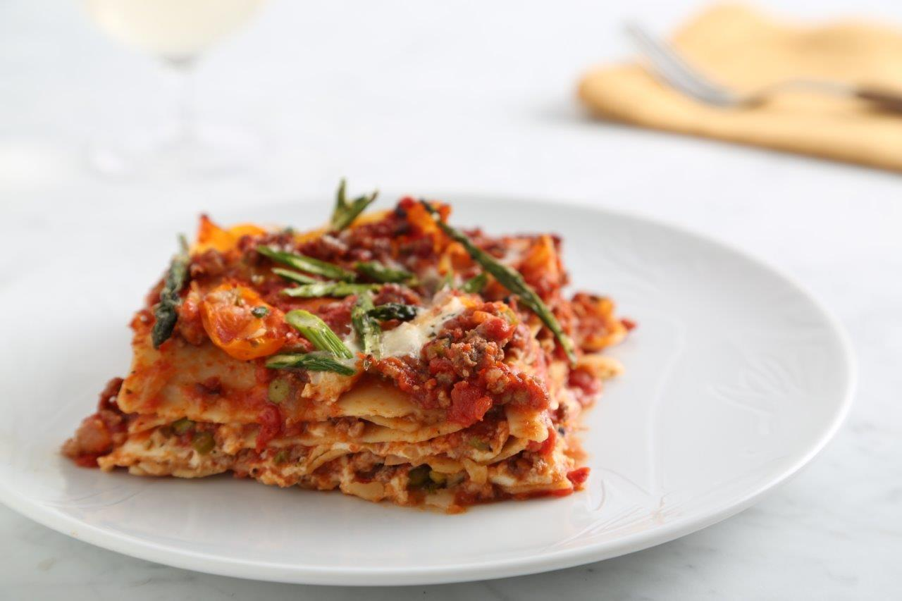 Gluten-Free Lasagna Recipe with Ground Meat, Asparagus, Tomatoes, & Carrots