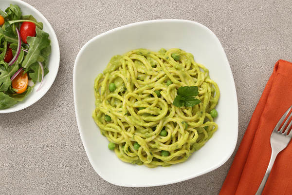 Indian Spaghetti Recipe with Leek & Curried Pea Sauce