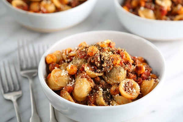 Orecchiette with Za'atar Lamb Ragout, Tomatoes and Harissa Chickpeas