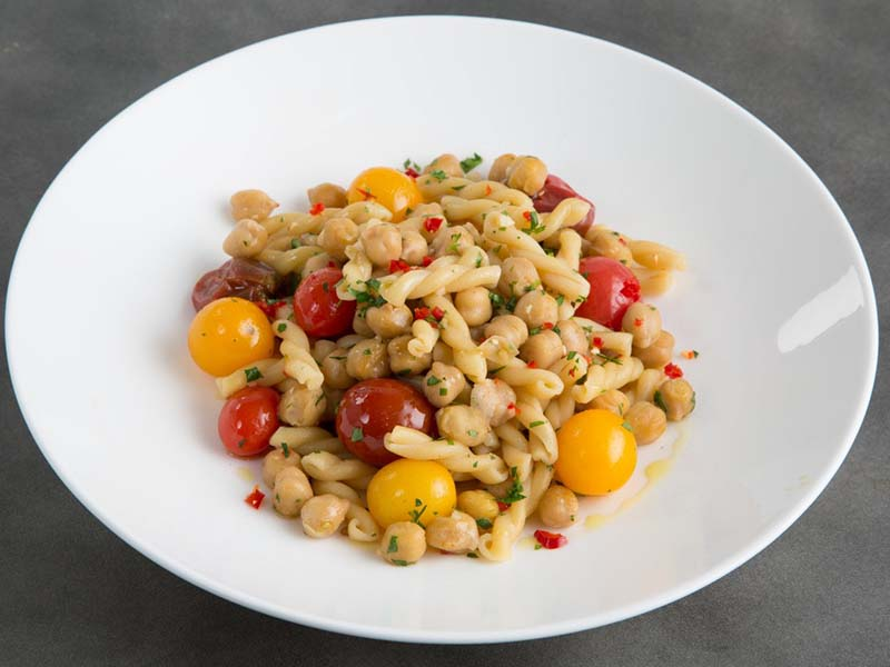 Gemelli with Spicy Chickpeas, Rosemary & Cherry Tomatoes